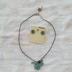 Fossil Necklace and Earrings turquoise blue flower